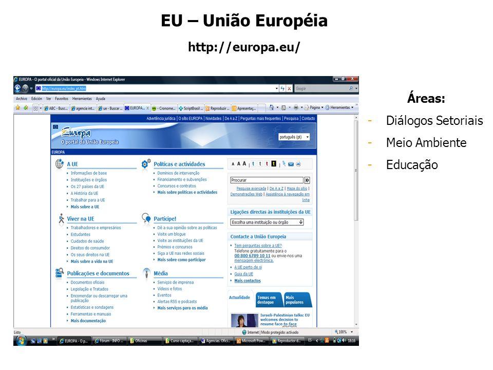 EU – União Européia http://europa.eu/ Áreas: -Diálogos Setoriais -Meio Ambiente -Educação