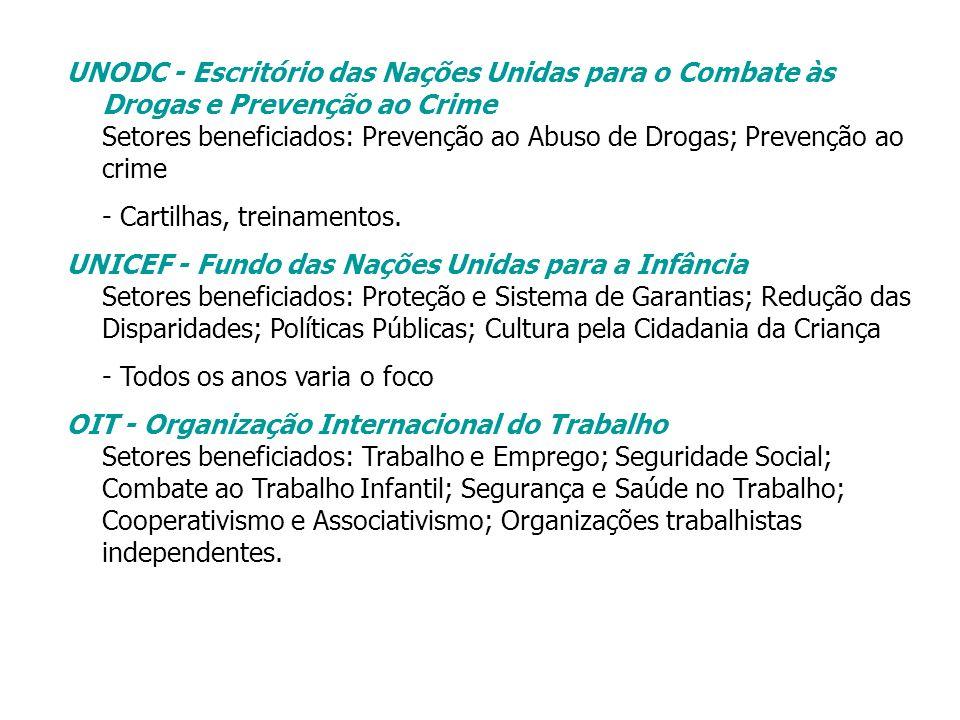UNODC - Escritório das Nações Unidas para o Combate às Drogas e Prevenção ao Crime Setores beneficiados: Prevenção ao Abuso de Drogas; Prevenção ao cr