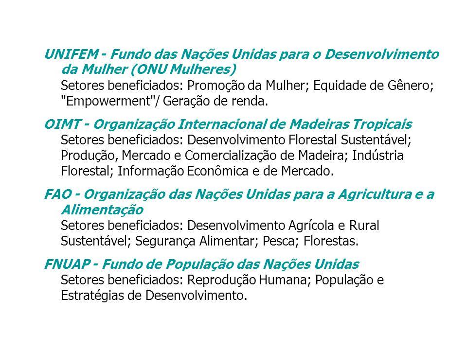 UNIFEM - Fundo das Nações Unidas para o Desenvolvimento da Mulher (ONU Mulheres) Setores beneficiados: Promoção da Mulher; Equidade de Gênero;