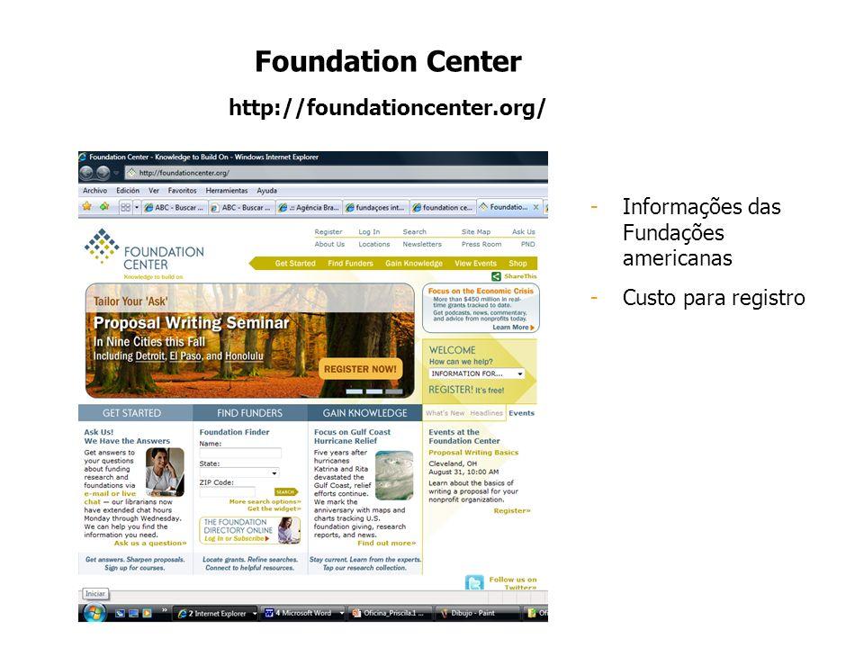 Foundation Center http://foundationcenter.org/ -Informações das Fundações americanas -Custo para registro