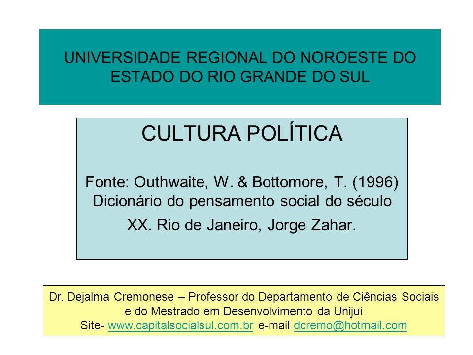 UNIVERSIDADE REGIONAL DO NOROESTE DO ESTADO DO RIO GRANDE DO SUL CULTURA POLÍTICA Fonte: Outhwaite, W.