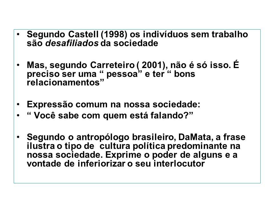 Segundo Castell (1998) os indivíduos sem trabalho são desafiliados da sociedade Mas, segundo Carreteiro ( 2001), não é só isso.