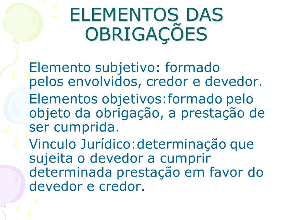 ELEMENTOS DAS OBRIGAÇÕES Elemento subjetivo: formado pelos envolvidos, credor e devedor. Elementos objetivos:formado pelo objeto da obrigação, a prest