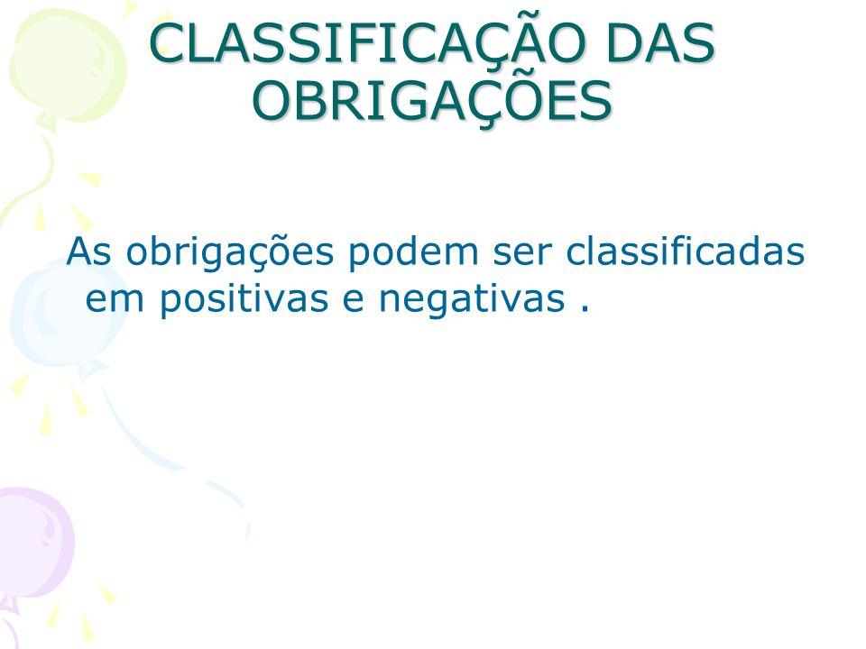 CLASSIFICAÇÃO DAS OBRIGAÇÕES As obrigações podem ser classificadas em positivas e negativas.