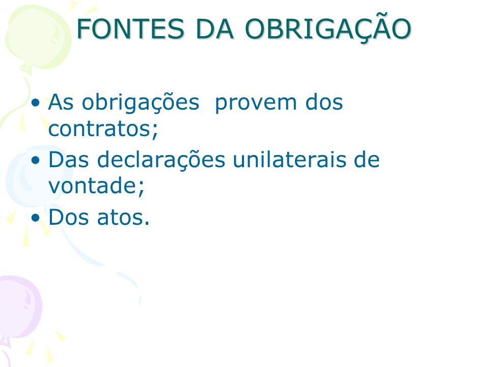 FONTES DA OBRIGAÇÃO As obrigações provem dos contratos; Das declarações unilaterais de vontade; Dos atos.
