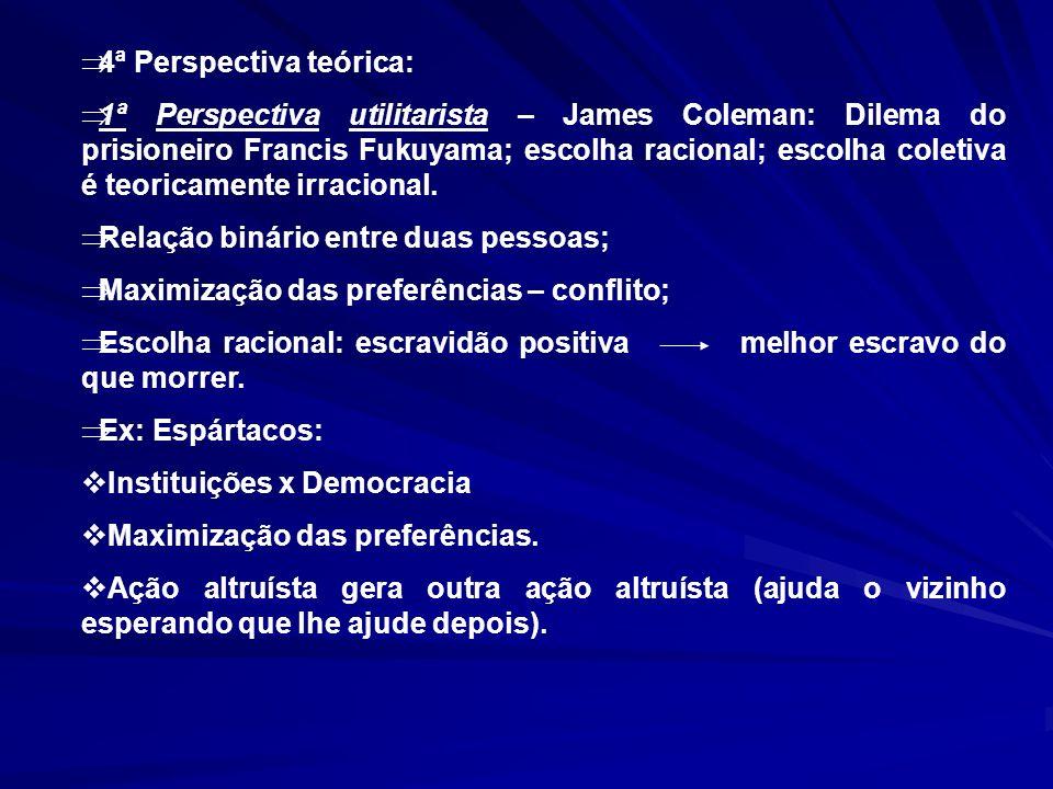 4ª Perspectiva teórica: 1ª Perspectiva utilitarista – James Coleman: Dilema do prisioneiro Francis Fukuyama; escolha racional; escolha coletiva é teor