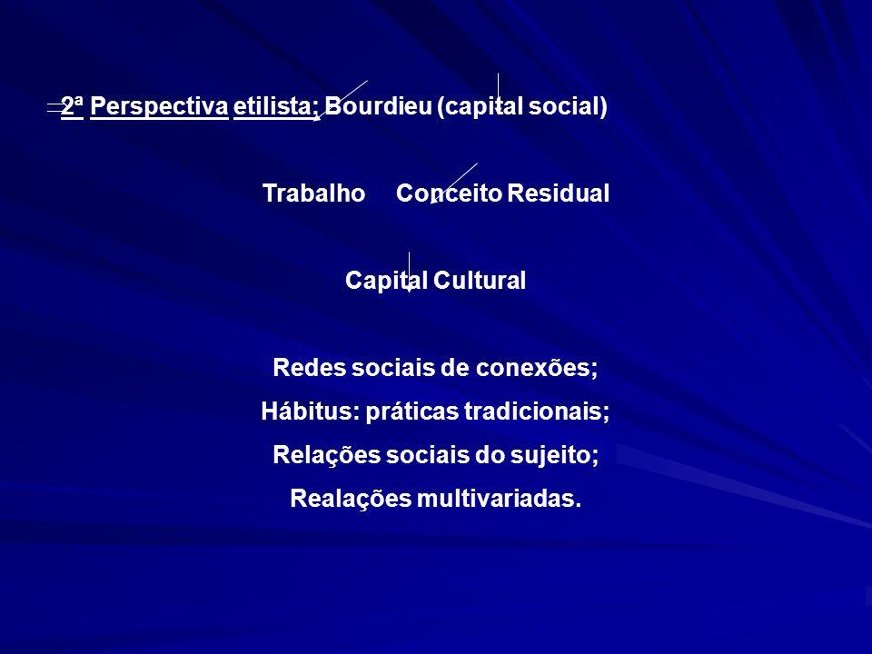 2ª Perspectiva etilista: Bourdieu (capital social) Trabalho Conceito Residual Capital Cultural Redes sociais de conexões; Hábitus: práticas tradicionais; Relações sociais do sujeito; Realações multivariadas.