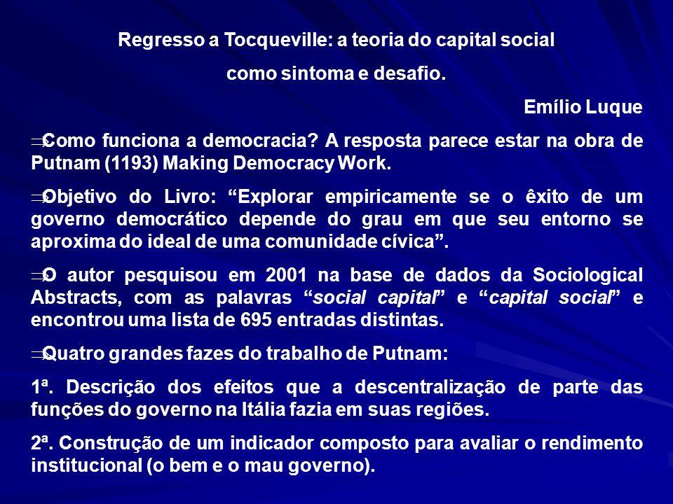 Regresso a Tocqueville: a teoria do capital social como sintoma e desafio. Emílio Luque Como funciona a democracia? A resposta parece estar na obra de
