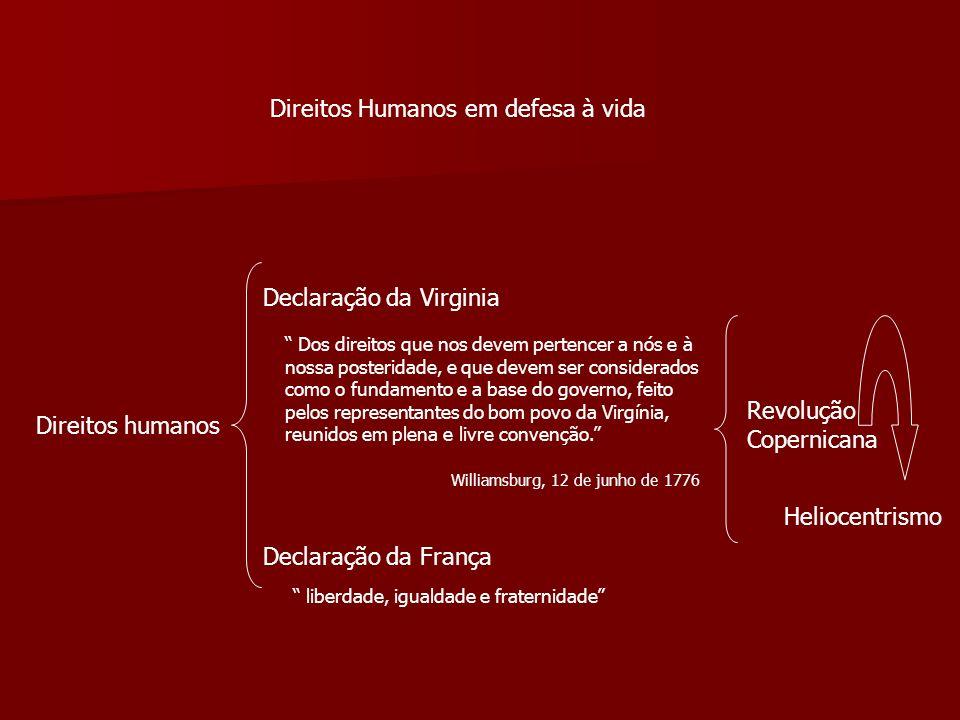 Direitos Humanos em defesa à vida Direitos humanos Declaração da Virginia Declaração da França Dos direitos que nos devem pertencer a nós e à nossa po