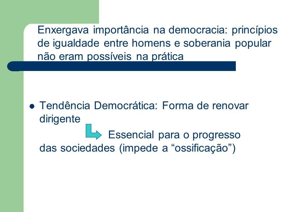 Tendência Democrática: Forma de renovar dirigente Essencial para o progresso das sociedades (impede a ossificação) Enxergava importância na democracia