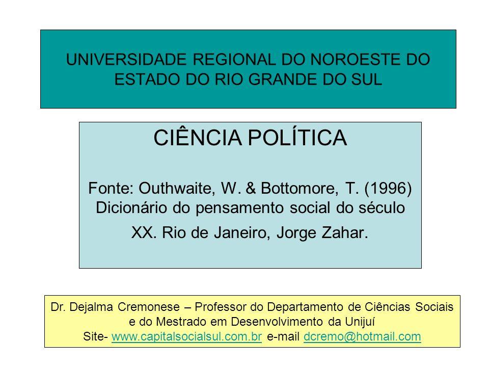 UNIVERSIDADE REGIONAL DO NOROESTE DO ESTADO DO RIO GRANDE DO SUL CIÊNCIA POLÍTICA Fonte: Outhwaite, W.