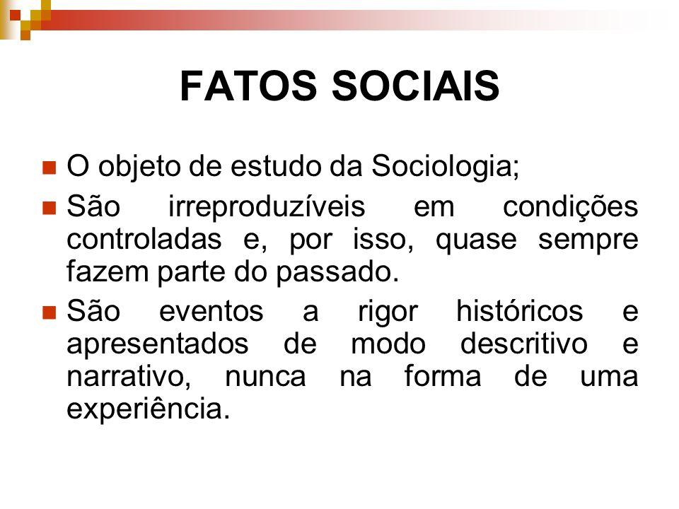 FATOS SOCIAIS O objeto de estudo da Sociologia; São irreproduzíveis em condições controladas e, por isso, quase sempre fazem parte do passado. São eve