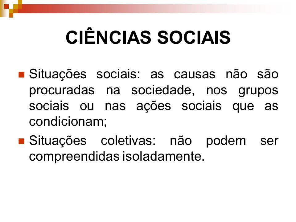 CIÊNCIAS SOCIAIS Situações sociais: as causas não são procuradas na sociedade, nos grupos sociais ou nas ações sociais que as condicionam; Situações c