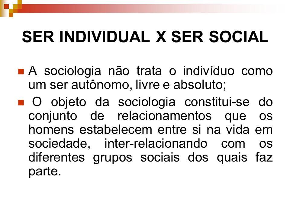 SER INDIVIDUAL X SER SOCIAL A sociologia não trata o indivíduo como um ser autônomo, livre e absoluto; O objeto da sociologia constitui-se do conjunto