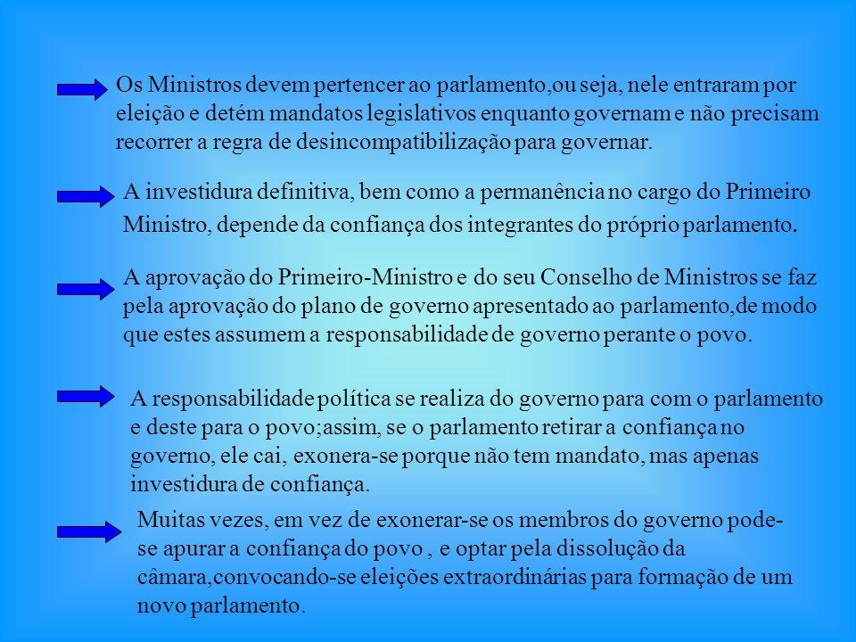 CARACTERÍSTICAS: Típico de Monarquias Constitucionais de onde se estendeu ás Repúblicas Européias. O Poder Executivo se divide em Chefe de Estado, exe