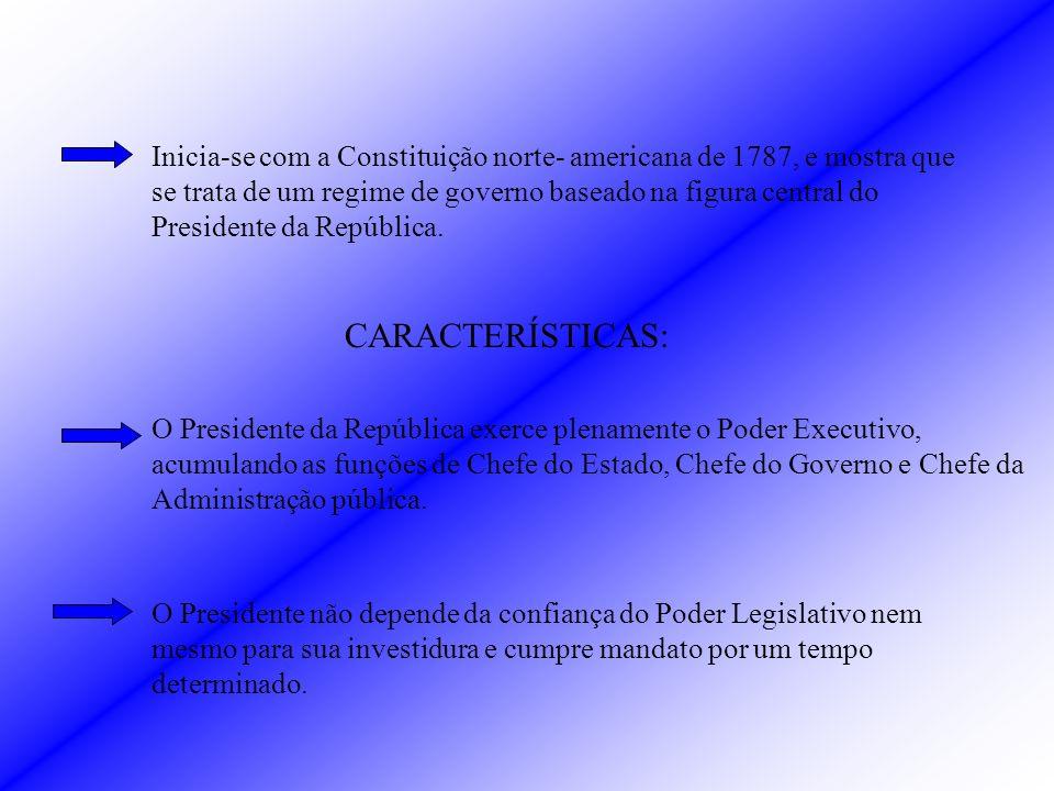 Inicia-se com a Constituição norte- americana de 1787, e mostra que se trata de um regime de governo baseado na figura central do Presidente da República.