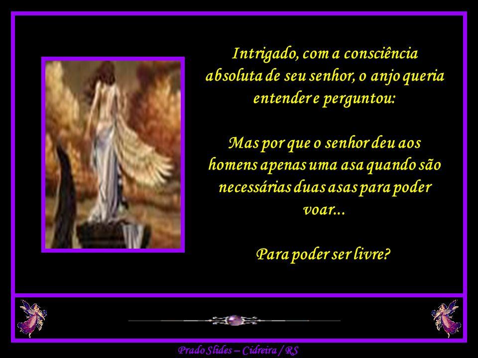 Deus na brandura dos gestos, respondeu pacientemente ao seu anjo: Sim... eu sei disso. Sei que fiz os humanos com apenas uma asa...
