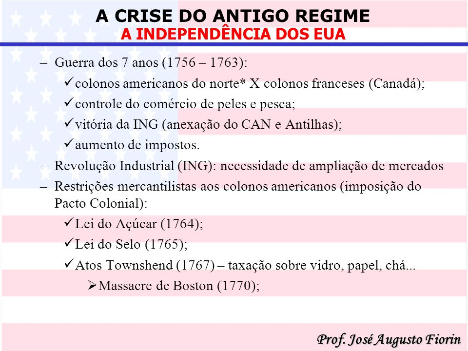 A CRISE DO ANTIGO REGIME Prof.