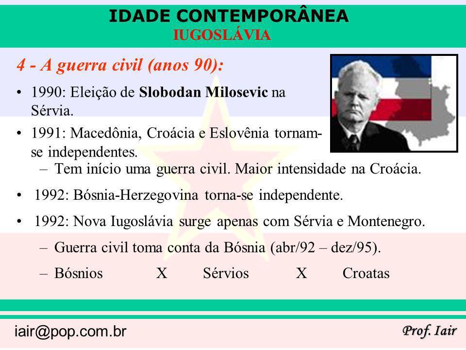 IDADE CONTEMPORÂNEA Prof. Iair iair@pop.com.br IUGOSLÁVIA 4 - A guerra civil (anos 90): –Tem início uma guerra civil. Maior intensidade na Croácia. 19