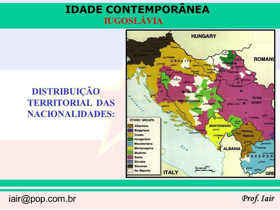 IDADE CONTEMPORÂNEA Prof. Iair iair@pop.com.br IUGOSLÁVIA DISTRIBUIÇÃO TERRITORIAL DAS NACIONALIDADES: