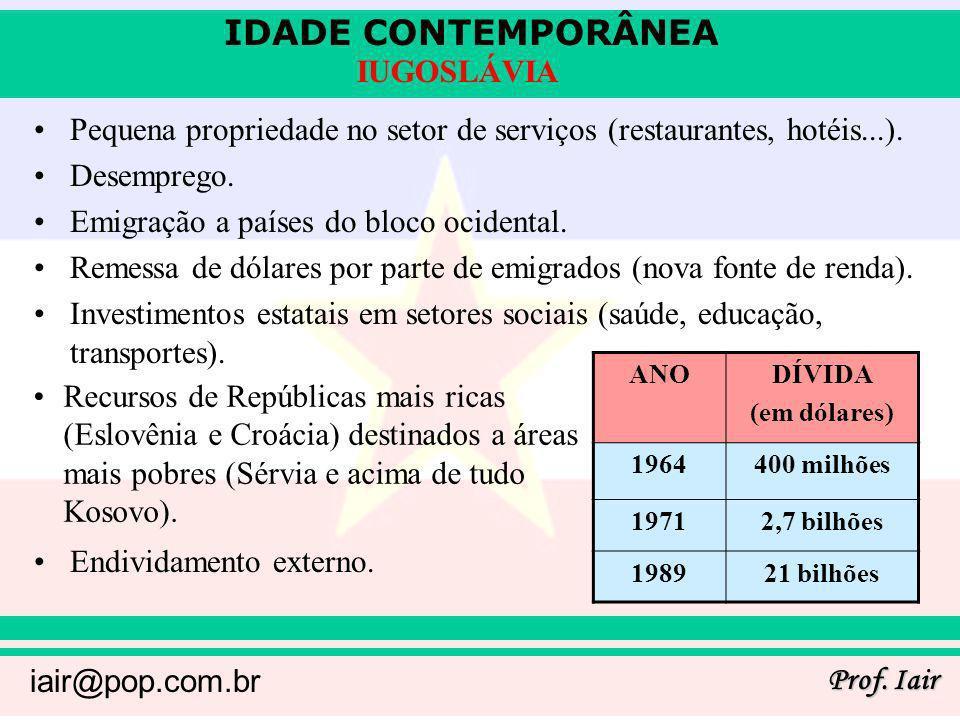 IDADE CONTEMPORÂNEA Prof. Iair iair@pop.com.br IUGOSLÁVIA Pequena propriedade no setor de serviços (restaurantes, hotéis...). Desemprego. Emigração a