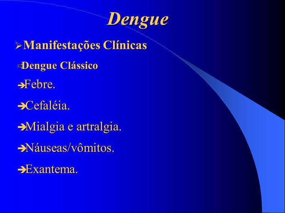 Dengue Dengue Clássico Dengue Clássico Febre. Febre. Cefaléia. Cefaléia. Mialgia e artralgia. Mialgia e artralgia. Náuseas/vômitos. Náuseas/vômitos. E