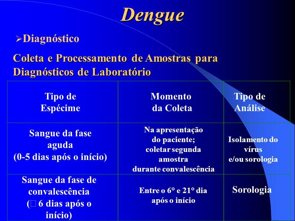 Dengue Coleta e Processamento de Amostras para Diagnósticos de Laboratório Tipo de Espécime Sangue da fase aguda (0-5 dias após o início) Sangue da fa
