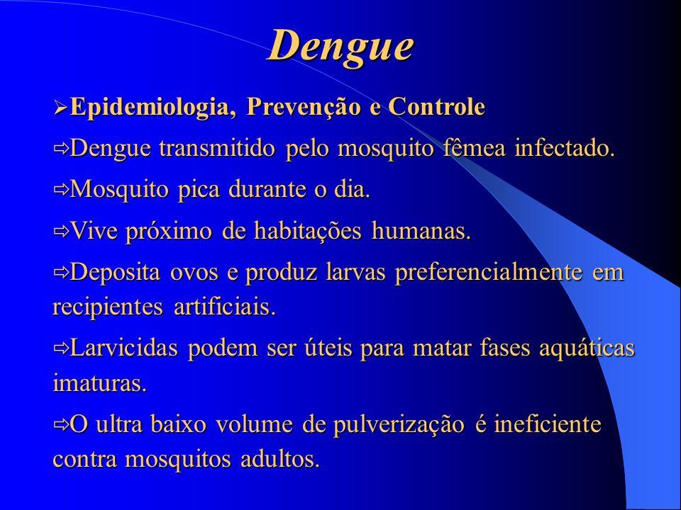 Dengue Epidemiologia, Prevenção e Controle Epidemiologia, Prevenção e Controle Dengue transmitido pelo mosquito fêmea infectado. Dengue transmitido pe