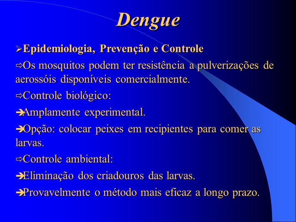 Dengue Epidemiologia, Prevenção e Controle Epidemiologia, Prevenção e Controle Os mosquitos podem ter resistência a pulverizações de aerossóis disponí