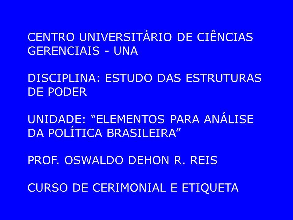 CENTRO UNIVERSITÁRIO DE CIÊNCIAS GERENCIAIS - UNA DISCIPLINA: ESTUDO DAS ESTRUTURAS DE PODER UNIDADE: ELEMENTOS PARA ANÁLISE DA POLÍTICA BRASILEIRA PROF.