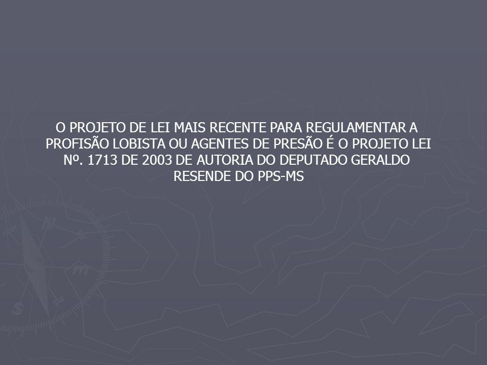 O PROJETO DE LEI MAIS RECENTE PARA REGULAMENTAR A PROFISÃO LOBISTA OU AGENTES DE PRESÃO É O PROJETO LEI Nº.