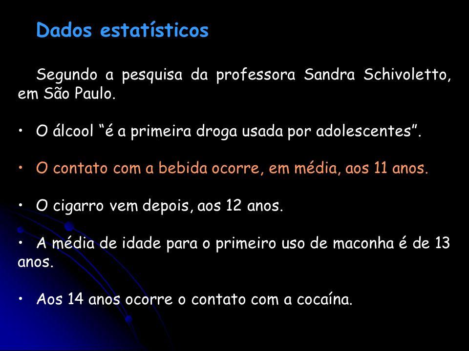 Dados estatísticos Segundo a pesquisa da professora Sandra Schivoletto, em São Paulo. O álcool é a primeira droga usada por adolescentes. O contato co