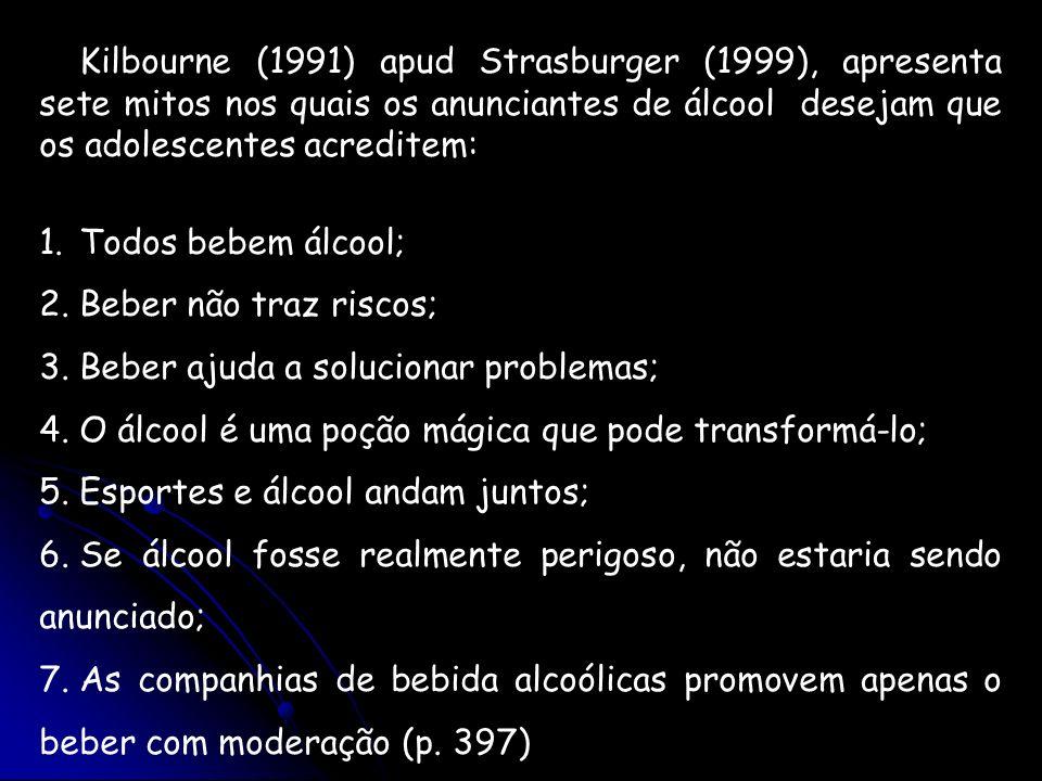 Kilbourne (1991) apud Strasburger (1999), apresenta sete mitos nos quais os anunciantes de álcool desejam que os adolescentes acreditem: 1.Todos bebem