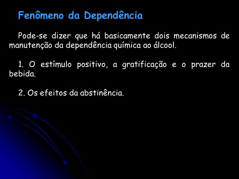 Fenômeno da Dependência Pode-se dizer que há basicamente dois mecanismos de manutenção da dependência química ao álcool. 1. O estímulo positivo, a gra