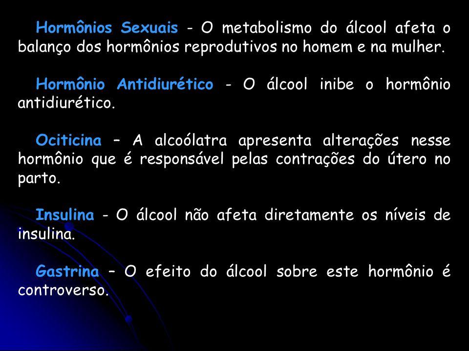 Hormônios Sexuais - O metabolismo do álcool afeta o balanço dos hormônios reprodutivos no homem e na mulher. Hormônio Antidiurético - O álcool inibe o