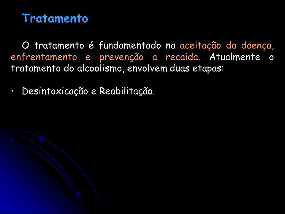 Tratamento O tratamento é fundamentado na aceitação da doença, enfrentamento e prevenção a recaída. Atualmente o tratamento do alcoolismo, envolvem du