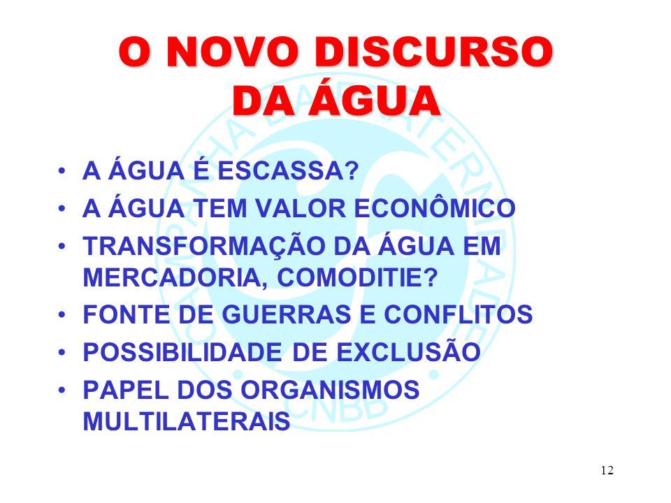 12 O NOVO DISCURSO DA ÁGUA A ÁGUA É ESCASSA? A ÁGUA TEM VALOR ECONÔMICO TRANSFORMAÇÃO DA ÁGUA EM MERCADORIA, COMODITIE? FONTE DE GUERRAS E CONFLITOS P