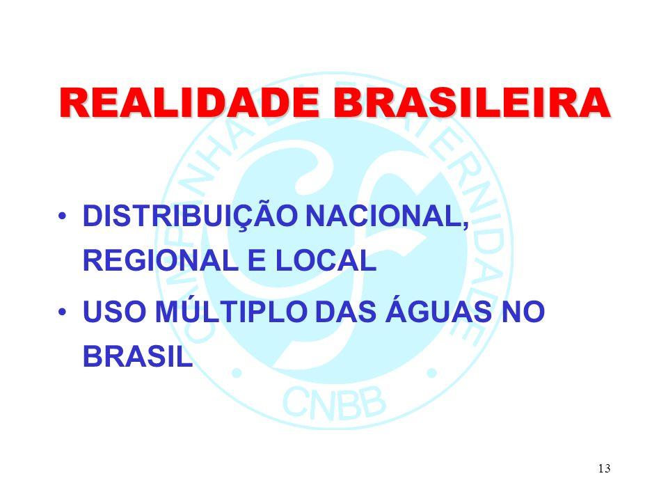 13 REALIDADE BRASILEIRA DISTRIBUIÇÃO NACIONAL, REGIONAL E LOCAL USO MÚLTIPLO DAS ÁGUAS NO BRASIL
