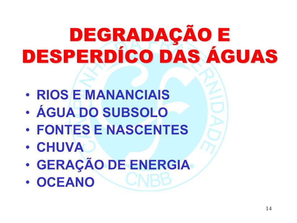 14 DEGRADAÇÃO E DESPERDÍCO DAS ÁGUAS RIOS E MANANCIAIS ÁGUA DO SUBSOLO FONTES E NASCENTES CHUVA GERAÇÃO DE ENERGIA OCEANO