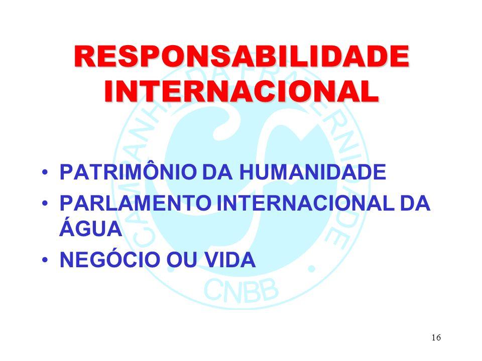 16 RESPONSABILIDADE INTERNACIONAL PATRIMÔNIO DA HUMANIDADE PARLAMENTO INTERNACIONAL DA ÁGUA NEGÓCIO OU VIDA
