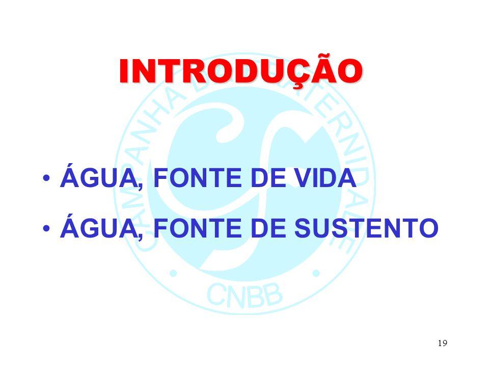 19 INTRODUÇÃO ÁGUA, FONTE DE VIDA ÁGUA, FONTE DE SUSTENTO