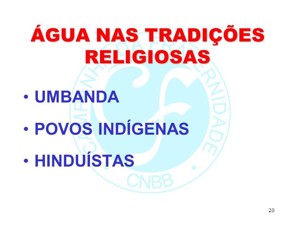 20 ÁGUA NAS TRADIÇÕES RELIGIOSAS UMBANDA POVOS INDÍGENAS HINDUÍSTAS