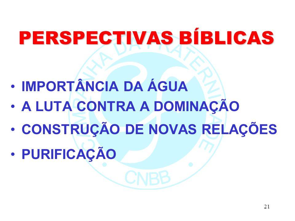 21 PERSPECTIVAS BÍBLICAS IMPORTÂNCIA DA ÁGUA A LUTA CONTRA A DOMINAÇÃO CONSTRUÇÃO DE NOVAS RELAÇÕES PURIFICAÇÃO