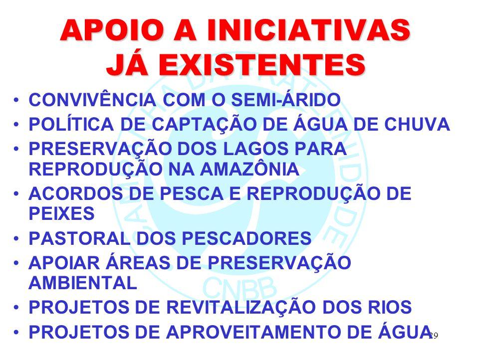 29 APOIO A INICIATIVAS JÁ EXISTENTES CONVIVÊNCIA COM O SEMI-ÁRIDO POLÍTICA DE CAPTAÇÃO DE ÁGUA DE CHUVA PRESERVAÇÃO DOS LAGOS PARA REPRODUÇÃO NA AMAZÔ