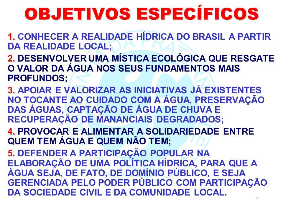 4 OBJETIVOS ESPECÍFICOS 1. 1. CONHECER A REALIDADE HÍDRICA DO BRASIL A PARTIR DA REALIDADE LOCAL; 2. DESENVOLVER UMA MÍSTICA ECOLÓGICA QUE RESGATE O V