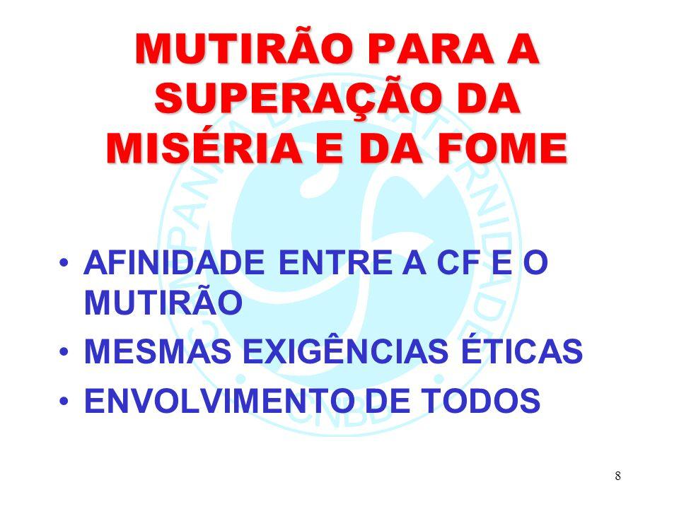 8 MUTIRÃO PARA A SUPERAÇÃO DA MISÉRIA E DA FOME AFINIDADE ENTRE A CF E O MUTIRÃO MESMAS EXIGÊNCIAS ÉTICAS ENVOLVIMENTO DE TODOS