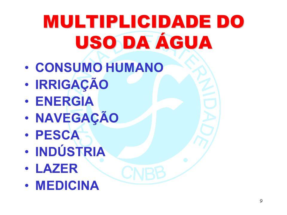9 MULTIPLICIDADE DO USO DA ÁGUA CONSUMO HUMANO IRRIGAÇÃO ENERGIA NAVEGAÇÃO PESCA INDÚSTRIA LAZER MEDICINA