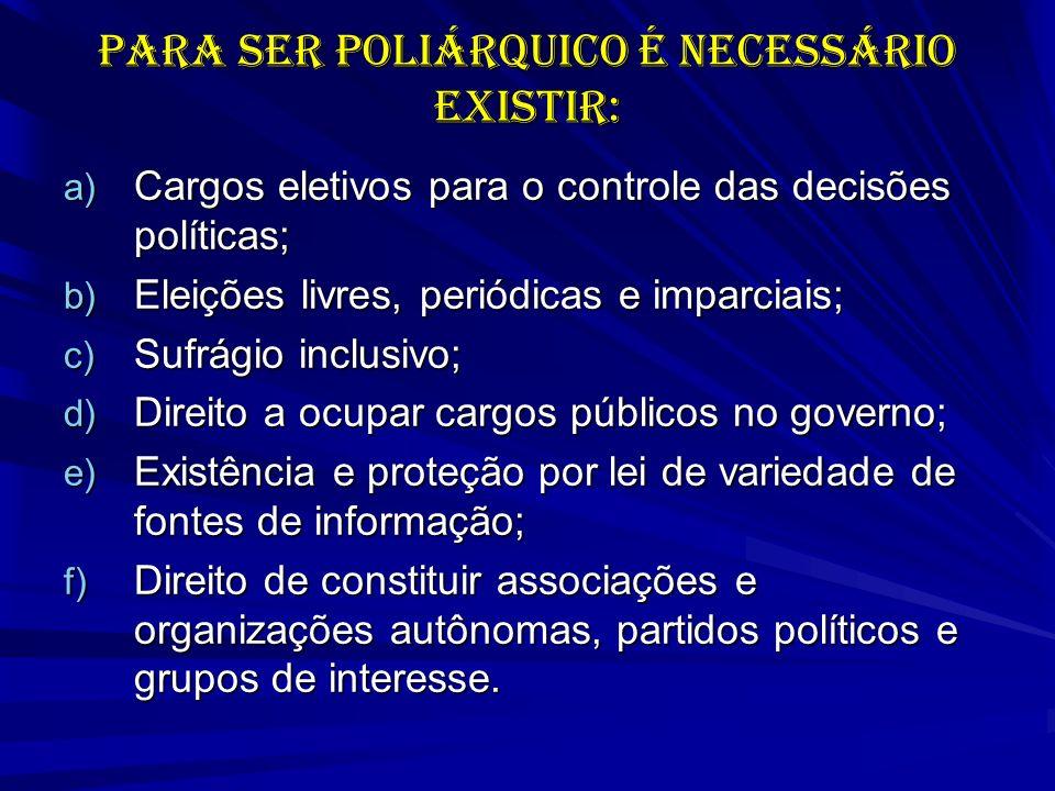 PARA SER POLIÁRQUICO É NECESSÁRIO EXISTIR: a) Cargos eletivos para o controle das decisões políticas; b) Eleições livres, periódicas e imparciais; c)
