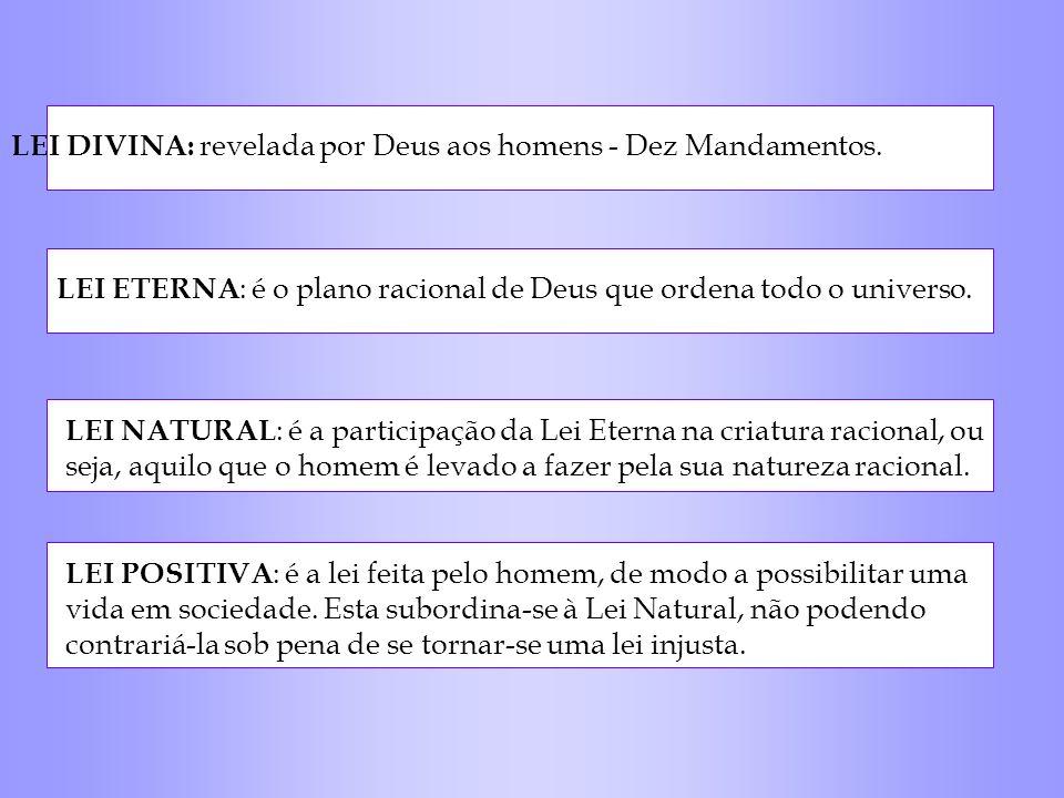 LEI DIVINA: revelada por Deus aos homens - Dez Mandamentos. LEI ETERNA : é o plano racional de Deus que ordena todo o universo. LEI NATURAL : é a part