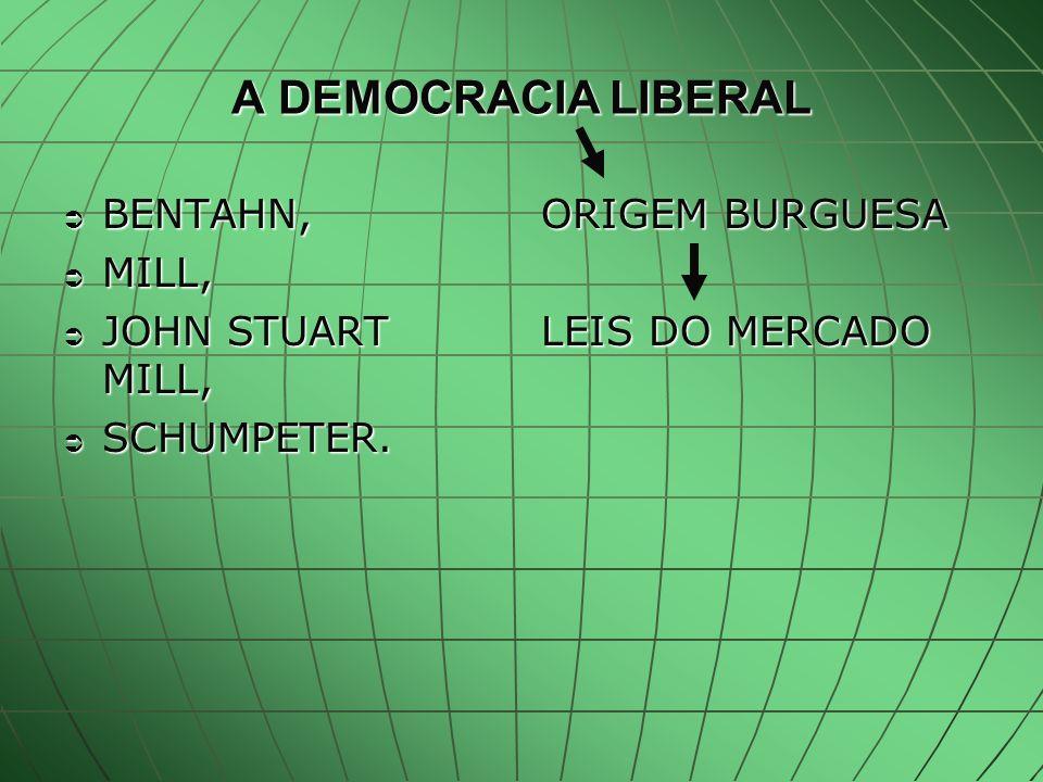 A DEMOCRACIA LIBERAL BENTAHN, BENTAHN, MILL, MILL, JOHN STUART MILL, JOHN STUART MILL, SCHUMPETER.